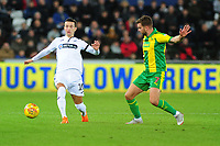 Bersant Celina of Swansea City vies for possession with James Morrison of West Bromwich Albion during the Sky Bet Championship match between Swansea City and West Bromwich Albion at the Liberty Stadium in Swansea, Wales, UK. Wednesday 28 November 2018