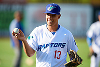 Luis Paz (13) of the Ogden Raptors before the game against the Orem Owlz in Pioneer League action at Lindquist Field on June 21, 2017 in Ogden, Utah. The Owlz defeated the Raptors 16-5. This was Opening Night at home for the Raptors.  (Stephen Smith/Four Seam Images)