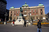 Belgrade, Serbia. Trg Republike city centre square with the National Museum and equestrian statue of Mihailo Obrenovic.
