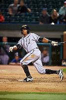 Jacksonville Suns outfielder Kenny Wilson (3) at bat during a game against the Chattanooga Lookouts on April 30, 2015 at AT&T Field in Chattanooga, Tennessee.  Jacksonville defeated Chattanooga 6-4.  (Mike Janes/Four Seam Images)