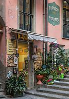 Charming shop in the town of Riomaggiore, Cinque Terre, Liguria, Italy.