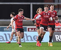 26th March 2021; Kingsholm Stadium, Gloucester, Gloucestershire, England; English Premiership Rugby, Gloucester versus Exeter Chiefs; Louis Rees-Zammit congratulates Charlie Chapman of Gloucester on scoring a try