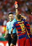 Spanish referee Carlos Del Cerro Grande have words with FC Barcelona's players during Spanish Kings Cup Final match. May 22,2016. (ALTERPHOTOS/Acero)
