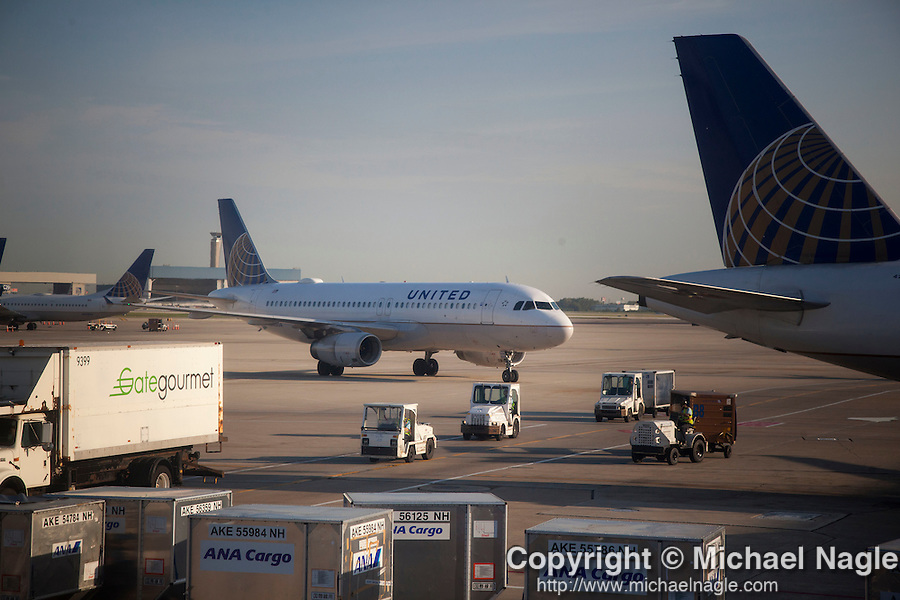 CHICAGO, IL -- AUGUST 13, 2015:  A United Airlines jet operated by United Continental Holdings Inc. taxis at Chicago O'Hare International Airport  on Thursday, August 13, 2015 in Chicago. PHOTOGRAPH BY MICHAEL NAGLE