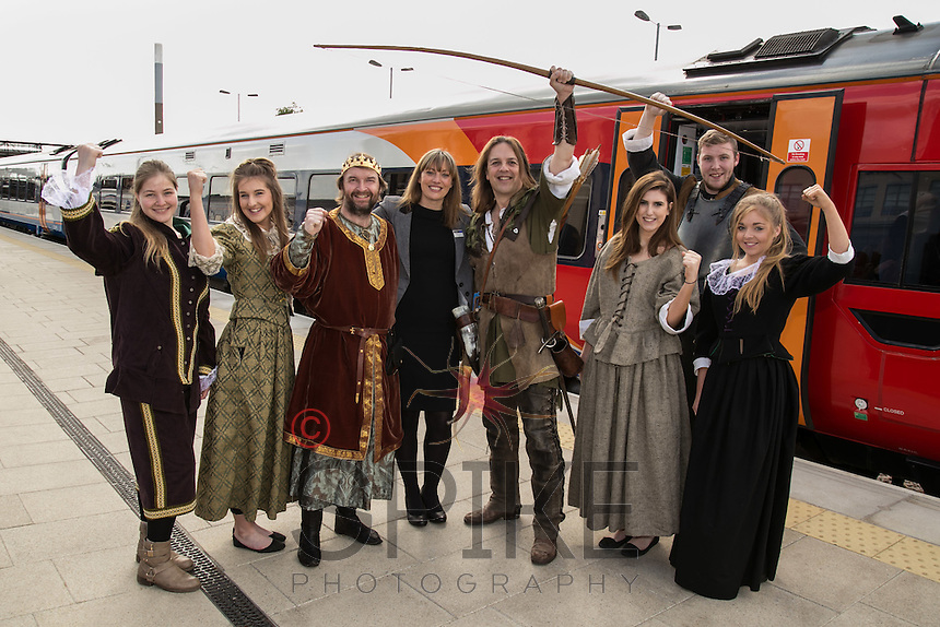 Pictured from left are Xhesida Ajvasi, Rebecca Wheatcroft, King John aka Andrew Wydrzynski, Sarah Turner of East Midlands Trains, Robin Hood aka Tim Pollard, Tamara Cowgill, Joe Hallam and Beth Rushby