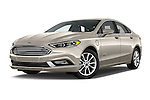 Stock pictures of low aggressive front three quarter view of 2017 Ford Fusion Energi Plug-In Hybrid SE Luxury 4 Door Sedan Low Aggressive
