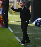 27th September 2020; Fir Park, Motherwell, North Lanarkshire, Scotland; Scottish Premiership Football, Motherwell versus Rangers; Motherwell Manager Steven Robinson gives instructions to his side