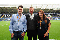 Lee Trundle with trade centre Wales sponsors prior the Sky Bet Championship match between Swansea City and Nottingham Forest at the Liberty Stadium, in Swansea, Wales, UK. Saturday 15 September 2018