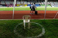 MANIZALES - COLOMBIA, 25-09-2020: Protocolos de bioseguridad. Once Caldas y Atlético Nacional en partido por la fecha 10 de la Liga BetPlay DIMAYOR I 2020 jugado en el estadio Palogrande de la ciudad de Manizalez. / Biosafety protocols. Once Caldas and Atletico Nacional in match for the date 10 as part of BetPlay DIMAYOR League I 2020 played at the Palogrande stadium in Manizales city. Photo: VizzorImage / John Jairo Bonilla / Cont