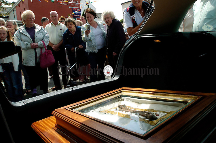 The Relics of St Claude de La Colombiere arrive outside Ennis Cathedral by car. Photograph by John Kelly.