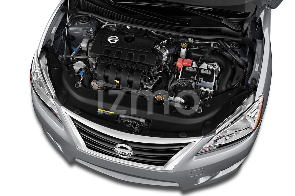High angle engine detail of a  .2013 Nissan Sentra SR