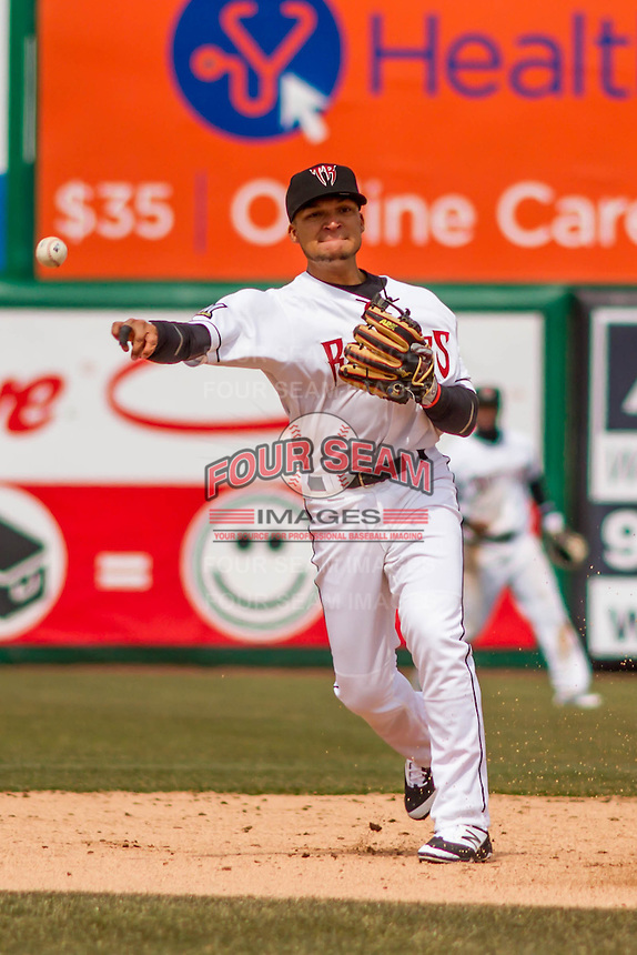 Wisconsin Timber Rattlers shortstop Isan Diaz (6) throws to first between innings of a Midwest League game against the Beloit Snappers on April 10th, 2016 at Fox Cities Stadium in Appleton, Wisconsin.  Wisconsin defeated Beloit  4-2. (Brad Krause/Four Seam Images)