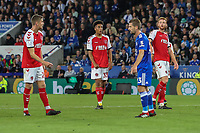 James Hill of Fleetwood Town (2nd left) during the English League Cup Round 2 Group North match between Leicester City and Fleetwood Town at the King Power Stadium, Leicester, England on 28 August 2018. Photo by David Horn.
