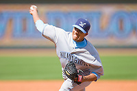 Relief pitcher Manauris Baez #37 of the Wilmington Blue Rocks in action against the Winston-Salem Dash at the BB&T Park April25, 2010, in Winston-Salem, North Carolina.  Photo by Brian Westerholt / Four Seam Images