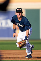 Lakeland Flying Tigers first baseman Jimmy Kerr (8) during a game against the Dunedin Blue Jays on June 8, 2021 at Joker Marchant Stadium in Lakeland, Florida.  (Mike Janes/Four Seam Images)