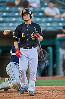 Matt Thaiss (6) of the Salt Lake Bees at bat against the Tacoma Rainiers at Smith's Ballpark on May 13, 2021 in Salt Lake City, Utah. The Rainiers defeated the Bees 15-5. (Stephen Smith/Four Seam Images)