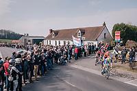 the breakaway group cheered on<br /> <br /> 81st Gent-Wevelgem in Flanders Fields (1.UWT)<br /> Deinze > Wevelgem (251km)