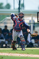 GCL Braves catcher Collin Yelich (30) throws to first during a game against the GCL Pirates on August 10, 2016 at Pirate City in Bradenton, Florida.  GCL Braves defeated the GCL Pirates 5-1.  (Mike Janes/Four Seam Images)