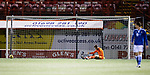 Hamilton Accies v St Johnstone …03.03.21   Fountain of Youth Stadium   SPFL<br />Zander Clark after comceding Ross Callachan's goal<br />Picture by Graeme Hart.<br />Copyright Perthshire Picture Agency<br />Tel: 01738 623350  Mobile: 07990 594431