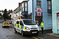Pictured: Police near Brewery Terrace in Saundersfoot, Wales, UK. 01 January 2021<br /> Re: Police have launched an investigation after the body of a man was discovered in an alleyway on New Year's Eve in Saundersfoot, Wales, UK.<br /> Dyfed-Powys Police said officers were called to an area near Brewery Terrace at about 6pm on Thursday.<br /> The unidentified man, was pronounced dead at the scene by paramedics.<br /> The force said inquiries are continuing to establish the circumstances in which the man died, and they have appealed for anyone with information to come forward.