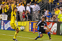 27 MAY 2009: #24 Jed Zayner, Columbus Crew defender and #10 Arturo Alvarez of the San Jose Earthquakes in action during the San Jose Earthquakes at Columbus Crew MLS game in Columbus, Ohio on May 27, 2009. The Columbus Crew defeated San Jose 2-1