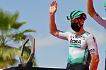 Pascal Ackermann (GER) Bora-Hansgrohe at sign on before the start of Stage 7 of the 2021 UAE Tour running 165km from Yas Island to Abu Dhabi Breakwater, Abu Dhabi, UAE. 27th February 2021.<br /> Picture: LaPresse/Gian Mattia D'Alberto   Cyclefile<br /> <br /> All photos usage must carry mandatory copyright credit (© Cyclefile   LaPresse/Gian Mattia D'Alberto)