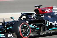 27th March 2021; Sakhir, Bahrain; F1 Grand Prix of Bahrain, Qualifying sessions;  44 HAMILTON Lewis (gbr), Mercedes AMG F1 GP W12 E Performance during Formula 1 Gulf Air Bahrain Grand Prix 2021 qualifying takes 2nd on pole