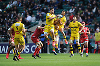 Brice Dulin and Dillyn Leyds of La Rochelle secure the high ball during the Heineken Champions Cup Final match between La Rochelle and Toulouse at Twickenham Stadium on Saturday 22 May 2021 (Photo by Rob Munro/Stewart Communications)