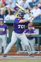 TCU Horned Frogs catcher Evan Skoug (9) at bat against the Vanderbilt Commodores in Game 12 of the NCAA College World Series on June 19, 2015 at TD Ameritrade Park in Omaha, Nebraska. The Commodores defeated TCU 7-1. (Andrew Woolley/Four Seam Images)