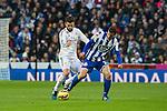 Real Madrid´s Nacho Fernandez and Deportivo de la Coruna's Albert Lopo during 2014-15 La Liga match between Real Madrid and Deportivo de la Coruna at Santiago Bernabeu stadium in Madrid, Spain. February 14, 2015. (ALTERPHOTOS/Luis Fernandez)
