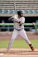 Right fielder Cristopher Cespedes (43) of the Delmarva Shorebirds in a game against the Lynchburg Hillcats on Wednesday, August 11, 2021, at Bank of the James Stadium in Lynchburg, Virginia. (Tom Priddy/Four Seam Images)