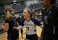 Fayetteville Gracyn Spresser (7) reacts with teammates, Thursday, September 10, 2020 during a volleyball game at Fayetteville High School in Fayetteville. Check out nwaonline.com/200911Daily/ for today's photo gallery. <br /> (NWA Democrat-Gazette/Charlie Kaijo)