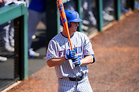 Florida Gators designated hitter Kirby McMullen (52) on deck against the Tennessee Volunteers on Robert M. Lindsay Field at Lindsey Nelson Stadium on April 11, 2021, in Knoxville, Tennessee. (Danny Parker/Four Seam Images)