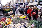 Street market London. Portobello Road.  Saturday traditional cut flower market stall. 1990s UK 1999