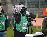 20160302 – DEN HAAG ,  NEDERLAND : Dutch TV pictured during the Olympic Qualification Tournament  soccer game between the women teams of Switzerland and The Netherlands, The first game for both teams in the Olympic Qualification Tournament for the Olympic games in Rio de Janeiro - Brasil, Wednesday 2 March 2016 at Kyocera Stadium in The Hague , Netherlands  PHOTO DAVID CATRY