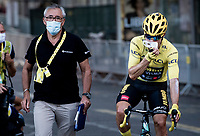yellow jersey / GC leader Primoz Roglic (SVK/Jumbo-Visma) struggling with his face mask post-finish<br /> <br /> Stage 14 from Clermont-Ferrand to Lyon (194km)<br /> <br /> 107th Tour de France 2020 (2.UWT)<br /> (the 'postponed edition' held in september)<br /> <br /> ©kramon