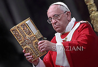 Pope Francis   during  the holy mass of Pentecost Sunday in Saint Peter's Basilica at the Vatican on 8 June 2014