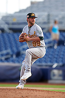 Mesa Solar Sox pitcher Brendan McCurry (99) delivers a pitch during an Arizona Fall League game against the Peoria Javelinas on October 21, 2015 at Peoria Stadium in Peoria, Arizona.  Peoria defeated Mesa 5-3.  (Mike Janes/Four Seam Images)