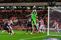 1st October 2021;  Bet365 Stadium, Stoke, Staffordshire, England; EFL Championship football, Stoke City versus West Bromwich Albion; Goalkeeper Adam Davies of Stoke City makes a save