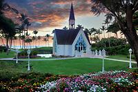 Wailea Seaside Chapel at sunrise. Maui, Hawaii.