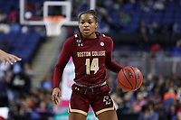 GREENSBORO, NC - MARCH 07: Marnelle Garraud of Boston College dribbles the ball during a game between Boston College and NC State at Greensboro Coliseum on March 07, 2020 in Greensboro, North Carolina.