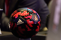 Philadelphia, PA - Friday January 19, 2018: Atlanta United soccer ball during the 2018 MLS SuperDraft at the Pennsylvania Convention Center.