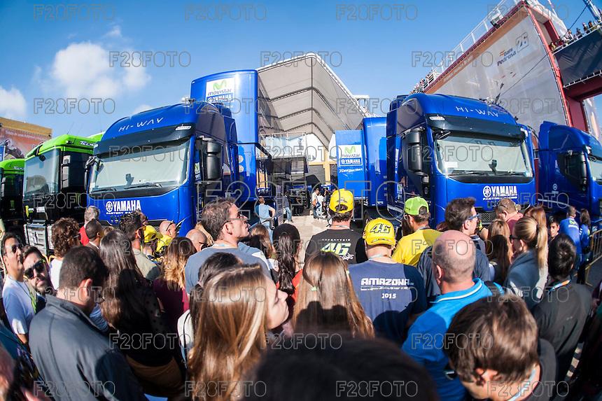 VALENCIA, SPAIN - NOVEMBER 8: Valentino Rosi fans waiting his idol in the paddock during Valencia MotoGP 2015 at Ricardo Tormo Circuit on November 8, 2015 in Valencia, Spain