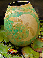 Hawaiian gourd decorated in ancient Ni'ihau style showing a turtle