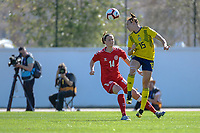20200307  Lagos , Portugal : Swedish Jessica Samuelsson (15) , Danish midfielder Nicoline Soerensen (14) pictured during the female football game between the national teams of Sweden and Denmark on the second matchday of the Algarve Cup 2020 , a prestigious friendly womensoccer tournament in Portugal , on saturday 7 th March 2020 in Lagos , Portugal . PHOTO SPORTPIX.BE | STIJN AUDOOREN
