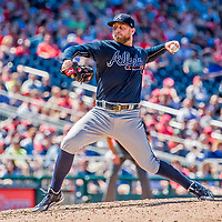 9 July 2017: Atlanta Braves pitcher Ian Krol on the mound in relief against the Washington Nationals at Nationals Park in Washington, DC. The Nationals defeated the Braves to split their 4-game series. Mandatory Credit: Ed Wolfstein Photo *** RAW (NEF) Image File Available ***