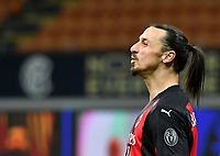 Football Soccer: Tim Cup Quarter Finals InternazionaleMIlan vs Milan, Giuseppe Meazza Stadium (San Siro) Milan, on January 26, 2021.<br /> Milan's Zlatan Ibrahimovic reacts during the Italian Tim Cup football match between Inter  and Milan at the Giuseppe Meazza stadium in Milan, January 26, 2021.<br /> UPDATE IMAGES PRESS/Isabella Bonotto