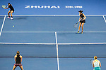 Xinyu Jiang (L) and Qianhui Tang (R) of China in action during the doubles Round Robin match of the WTA Elite Trophy Zhuhai 2017 against Alicja Rosolska of Poland and Anna Smith of Great Britain at Hengqin Tennis Center on November  03, 2017 in Zhuhai, China.  Photo by Yu Chun Christopher Wong / Power Sport Images