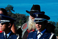 """""""Gizz"""", a member of the Legacy Vets Motorcycle Club sits behind members of the San Diego State AFROTC Color Guard.  Brigadier General James Maitland Stewart, United States Air Force, a highly decorated WWII pilot was honored with a special plaque during at a dedication ceremony attended by his daughter and other family members.  Stewart, who would have been 100 years old this year was better known to most of the world as a highly acclaimed Hollywood actor."""