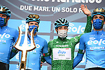 Maglia Verde Vincenzo Albanese (ITA) and Eolo-Kometa Cycling Team at sign on before the start of Stage 2 of Tirreno-Adriatico Eolo 2021, running 202km from Camaiore to Chiusdino, Italy. 11th March 2021. <br /> Photo: LaPresse/Gian Mattia D'Alberto | Cyclefile<br /> <br /> All photos usage must carry mandatory copyright credit (© Cyclefile | LaPresse/Gian Mattia D'Alberto)